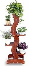 XUEWENZHE Blumenständer Mehrschichtiger Massivholz-Blumen-Zahnstange-Fußboden-Bonsais-Blumen-Zahnstange-Interieur-Regal-Wohnzimmer-Balkon-Schlafzimmer-Studie-Blumen-Regal Verschiedene Gartenregal ( größe : L )