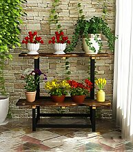 XUEWENZHE Blumenständer Outdoor Holzblumen Topf Rahmen Balkon Pflanze Regale Multi - Storey Leiter Racks Indoor Blumentopf Racks Blumenständer ( größe : 120cm )