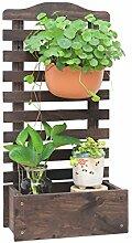XUEWENZHE Blumenständer Wandbehänge Kreativer Balkon hängt an der Wand Massivholz Blumentöpfe Regal Verschiedene Gartenregal ( farbe : Braun , größe : L*W*H:30*18*60cm )