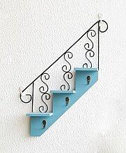 XUEWENZHE Blumenständer Wandmontierte Blumentöpfe American kreative Treppe hängenden hölzernen Werk Regal Schlüsselhaken Cafe Wandregale Verschiedene Gartenregal ( Farbe : C )
