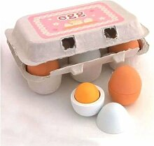 Xuniu 6 Stücke Holz Eier Eigelb Pädagogische