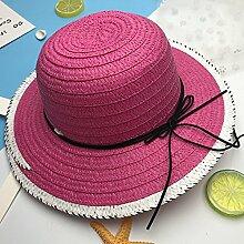 XW Hüte Sommer Sonnenschutz Mütze Lässig Damen Urlaub Visier Anti-UV Sommer Hut Outdoor Winddichte Mütze Strand Hut Lila Pink Orange Rose Rot Blau Braun Hüte passend für die meisten Menschen ( Farbe : Rose rot )