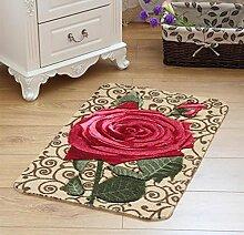 XWG Teppich/ Rosenmotiv Bodenmatte Schneiden / WC Badezimmer-saugfähige rutschfeste Matte / Schlafzimmerbettdecke / Fußmatte / Küche Bodenmatte / Schlafzimmer Bodenmatte ( farbe : 1# , größe : 44*68CM )