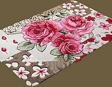 XWG Teppich/ Rosenmotiv Bodenmatte Schneiden / WC Badezimmer-saugfähige rutschfeste Matte / Schlafzimmerbettdecke / Fußmatte / Küche Bodenmatte / Schlafzimmer Bodenmatte ( farbe : 2# , größe : 39*59CM )