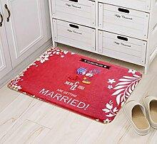 XWG Teppichmatte / Hochzeit Matte / Dekoriert Foyer Bodenmatten / Anti-Rutsch-rote Tür Matte / Ehe Hochzeit Zimmer hallo Fußballen ( farbe : 3# , größe : 50cm×80cm )