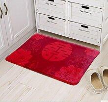 XWG Teppichmatte / Hochzeit Matte / Dekoriert Foyer Bodenmatten / Anti-Rutsch-rote Tür Matte / Ehe Hochzeit Zimmer hallo Fußballen ( farbe : 2# , größe : 40cm×60cm )