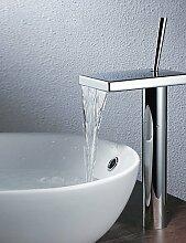XX&GX Armaturen für Waschbecken - Zeitgenössisch - Wasserfall - Messing (Chrom)
