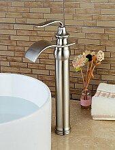 XX&GX Becken Einhand Ein Loch in Gebürsteter Nickel Waschbecken Wasserhahn