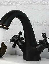 XX&GX Traditionell 3-Loch-Armatur Zwei Griffe Ein Loch in Bronze mit Ölschliff Waschbecken Wasserhahn