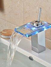 XX&GX Zeitgenössisch Becken LED / Wasserfall / berühren / berührungslos with Messingventil Einhand Ein Loch for Chrom , Badewannenarmaturen /