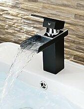 XX&GX zeitgenössische schwarze Malerei ein Loch Einhand-Wasserfall Waschbecken Wasserhahn