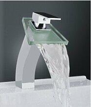 XX&GXM 2017 Neu Home deco-Stil in Europa moderne Kupfer Waschbecken Glas Wasserfall Waschbecken Wasserhahn(Home Küchen, Geschenke zum Geburtstag, Valentinstag Geschenke)