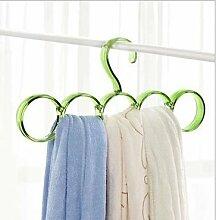 XXAICW Bunte 15 Ring Schal Frame Multi-Use Kunststoff Kleiderbügel Schal Schals binden Kleiderbügel Haken Hängende Kleiderbügel Schal 5 Loch - Grün
