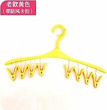 XXAICW Trocknende Zahnstange Clips Mehrzweck Kunststoff Kleiderbügel Clips Sonne Socken Unterwäsche nach Hause Indoor Balkon Kleidung Pol 1 , Gelb 8 Clip