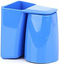 XXAICW Wash-Plastik Becher Pinsel Cup Zahnbürste Rack Wäsche aufhängen passt Paare Zähne Zahn Becher , Blau