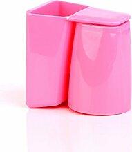 XXAICW Wash-Plastik Becher Pinsel Cup Zahnbürste Rack Wäsche aufhängen passt Paare Zähne Zahn Becher , Rosa