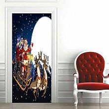 XXCCTT 3D Tür Aufkleber Wandbild Weihnachten