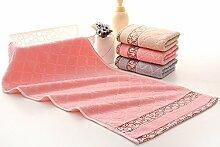 XXIN Fenster Fenster Gitter Gitter Handtuch Baumwolle Handtuch Weiche Farbe Rosa 74 *34