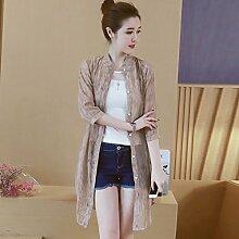 XXIN / Gedruckt Chiffon Sonnenschutz Kleidung Frauen / Cardigan Klimaanlage Jacke / 4Xl / Khaki