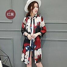 XXIN / Gedruckt Chiffon Sonnenschutz Kleidung Frauen / Cardigan Klimaanlage Jacke / Xl / Rot Und Schwarz