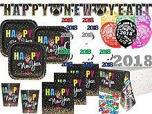 XXL 2018 Silvester Happy New Year Confetti Deko Set 8 Personen