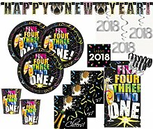 XXL 2018 Silvester Happy New Year Countdown Deko Set 8 Personen