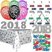 XXL 2018 Silvester und Neujahr Deko Set - Dekorationsset Tischdeko