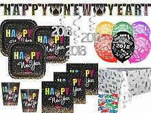 XXL 44 Teile 2018 Silvester Happy New Year Confetti Deko Set für 8 Personen