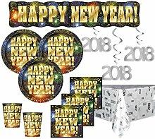 XXL 53 Teile 2018 Silvester Happy New Year Feuerwerk Deko Set für 16 Personen