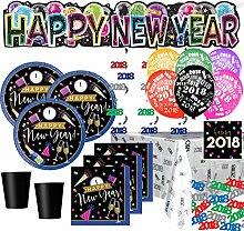 XXL 62 Teile 2018 Silvester Happy New Year Cheers Deko Set für 8 Personen