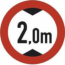 XXL Aufkleber Verkehrszeichen Durchfahrtshöhe 2m