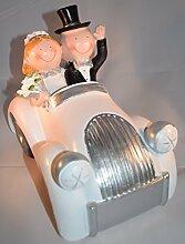 XXL Brautpaar im Weißen Auto