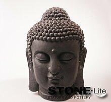 XXL Buddha Skulptur Gartendeko Kopf steingrau, Höhe 42 cm