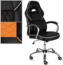 XXL Bürostuhl RACING DESIGN Racer Schreibtischstuhl Chefsessel Bürodrehstuhl Sport Sessel Stuhl verchromtes Drehkreuz Kunstleder Orange
