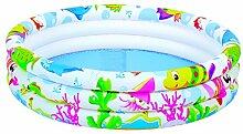XXL Buntes dreireihiges aufblasbares Kinderplanschbecken / Kinder Pool (138,5 Liter) inkl. Reparatur-Ki