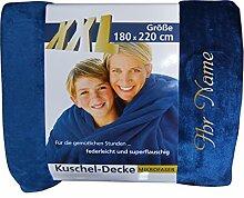 XXL-Decke mit Namen / Wunschtext bestickt, 180 x 220 cm, Farbe marineblau, Farbe Name gold; Decke, Wohndecke, Tagesdecke; Übermittlung Wunsch per E-Mail (siehe Beschreibung)