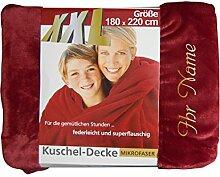 XXL-Decke mit Namen/Wunschtext bestickt, 180 x 220 cm, Farbe rot, Stickfarbe Name gold; Decke, Wohndecke, Tagesdecke; Übermittlung Wunsch siehe Beschreibung