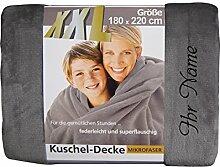 XXL-Decke mit Namen/Wunschtext bestickt, 180 x 220 cm, Farbe silber, Stickfarbe Name schwarz; Decke, Wohndecke, Tagesdecke; Übermittlung Wunsch siehe Beschreibung