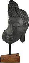 XXL Deko Buddha Kopf auf Holz Sockel 69cm grau  