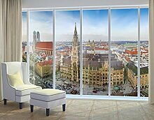 XXL Fensterbild City of Munich Fenster Tattoos Fensterdekoration Größe: 270cm x 504cm