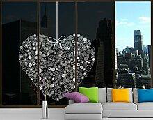 XXL Fensterbild Heart Giveaway Kunst Wand Dekoration Farbe Mauer Kunst Größe: 380cm x 288cm