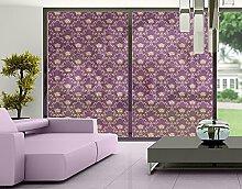 XXL Fensterbild No.RS11 Blumenkorb Violett Dekoration Muster Gold Dunkel Größe: 380cm x 360cm