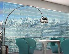 XXL Fensterbild No.RS7 Skandinavien Streifen Dekoration Muster Blau Grün Größe: 380cm x 576cm