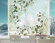 XXL Fensterbild Rosebud Rose Ranke Pflanze Blume Zeichnung Größe: 380cm x 360cm