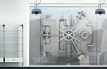 XXL Fensterbild Tresor Safe Schloss Versteck Geheimnis Bank Größe: 380cm x 144cm