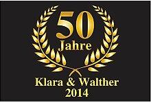XXL Fußmatte zur Goldenen Hochzeit / Fußmatte mit Druck 50 Jahre, Fußabtreter, Geschenkidee, Hochzeitsgeschenk, Dekoration, Erinnerung, 50 x 70 cm