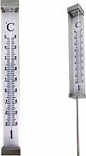 XXL Garten Solar LED Thermometer, große Zahlen & LED Beleuchtung, 102 cm Höhe. Gartenthermometer …