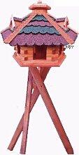 XXL Gartendeko aus Holz große Vogelfutter mit ROT BLAUEM DACH /mit Ständer Bitumenschindeln Vogelhaus/Nistkasten,Vogelhäuser : Ergänzung zum Nistkasten, für Vögel Amsel Amseln Meise Meisen Star Stare Meisennistkasten Vogel,Vogelfutterhaus und Vogelvilla, Futterhaus, Futterhäuschen,große Größen auch mit Ständer und Silo,