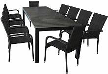 XXL Gartenmöbel Terrassenmöbel Set Sitzgruppe Gartengarnitur - Ausziehtisch, 224/284/344x100cm, Polywood-Tischplatte, schwarz + 10x Polyrattan Gartenstuhl, schwarz, stapelbar