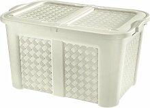 XXL Gartentruhe / Haushaltsbox in Geflecht-Optik aus Kunststoff für 123 Liter, sehr hochwertig verarbeitet (angora)